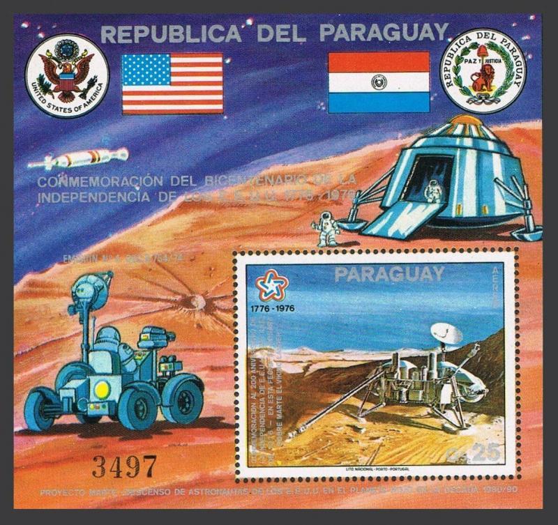 Paraguay C443 sheet,MNH.Michel 2833 Bl.282. USA-200,1976.Viking probe on Mars.