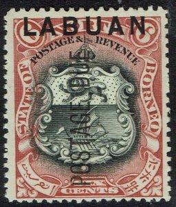 LABUAN 1901 POSTAGE DUE ARMS 6C PERF 13.5 - 14