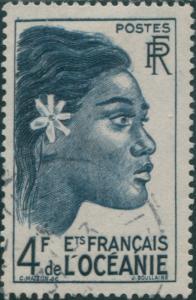 French Oceania 1948 SG198 4f blue Tahitian Girl FU