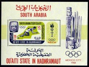 Aden Quaiti Hadhramaut Michel Bl.7A,MNH. Olympics Mexico-1968.Runner.