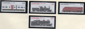 Denmark  Scott 932-35 1991 Railway Locomotives stamp set mint NH