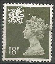 GREAT BRITAIN, WALES, Machins, 1987, used 18p olive green, Scott WMMH33