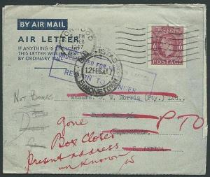 GB 1947 6d airletter used to South Africa and returned undelivered.........42558