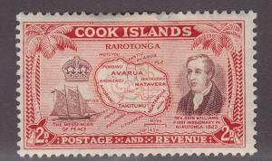 Cook Islands 133 Williams,Ship Messenger,map 1949