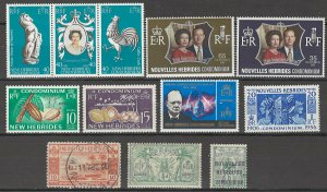 COLLECTION LOT # 3740 NEW HEBRIDES 12 STAMPS 1911+