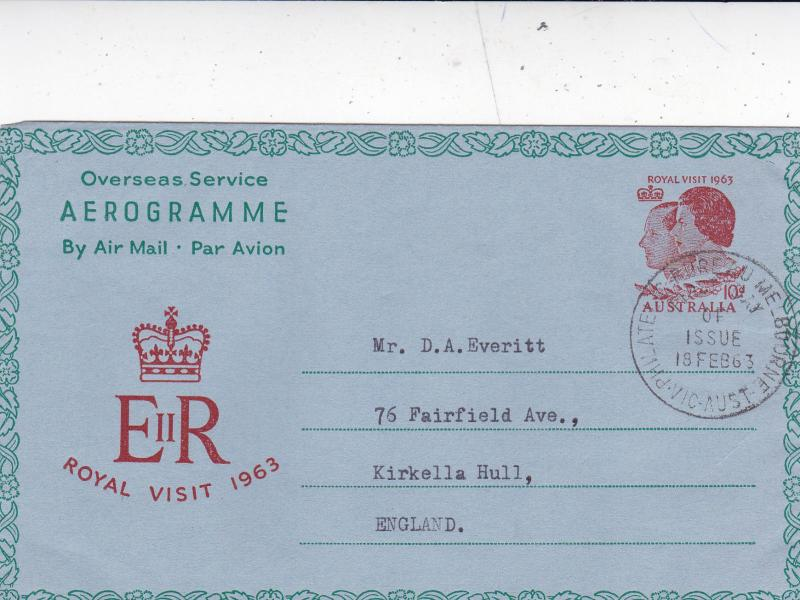 Australia 1963 Royal Visit 10d Aerogramme First Day of Issue Melbourne-Hull VGC
