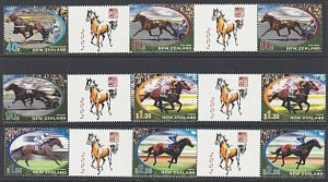 NEW ZEALAND 2002 Year of the Horse gutter pairs MNH.........................3174