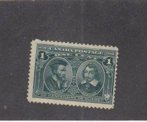 CANADA (MK2573) # 97 FVF-MH 1cts 1908  CARTIER & CHAMPLAIN /GREEN  CAT VALUE $30