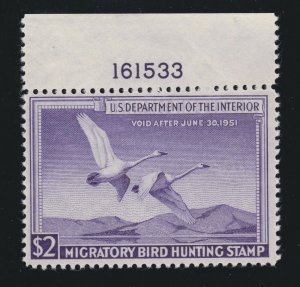 US RW17 $2 Federal Duck Stamp Mint Plate # Single VF-XF OG NH SCV $90