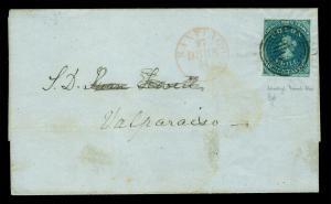 CHILE 1854 COLUMBUS - Desmadryl 10c greenish blue Sc# 5b VF on cvr to Sant. RARE