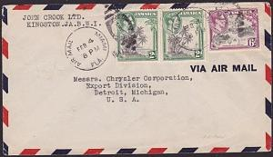 JAMAICA 1941 airmail cover to USA cancelled MIAMI AIRMAIL duplex............7468