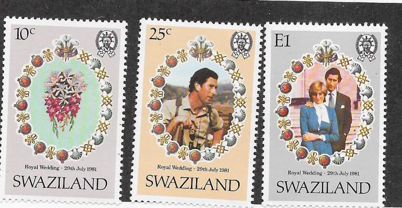 Swaziland MNH 382-4 Royal Wedding Princess Diana & Charles