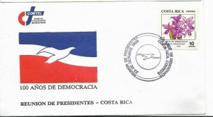 COSTA RICA 1989 100 YEARS OF DEMOCRACY PRESIDENT MEETING FLOWERS ORCHIDS FDC