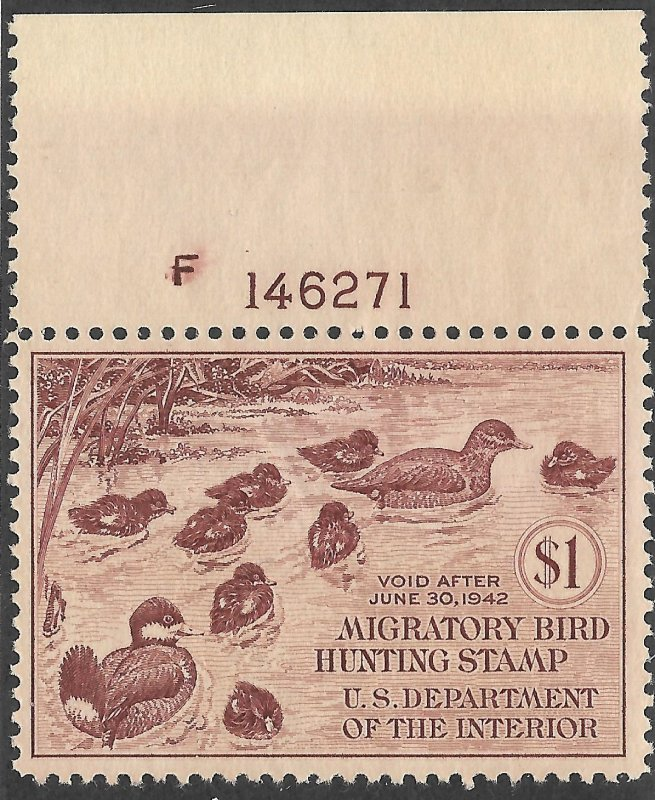 Doyle's_Stamps: Very Nice MNH Plate Single #RW8** Federal Duck Stamp of 1941