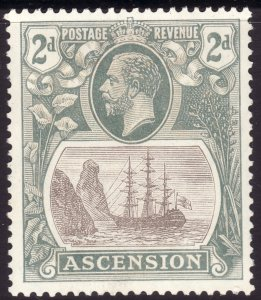 1924 Ascension King George V KGV 2p Badge of the Colony MLMH Sc# 13 CV $25.00