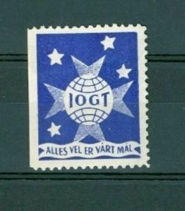 Sweden. Poster Stamp IOGT. Goodtemplar Order. Blue Star Globe