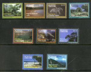 NICARAGUA 2216-2224 MNH SCV $8.15 BIN $4.10 NATIONAL PARKS