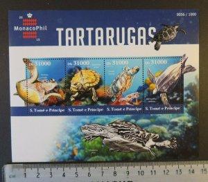 St Thomas 2015 turtles reptiles marine life monacophil stamp exhibition m/s