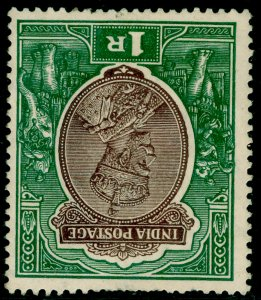 INDIA SG214w, 1r chocolate & green, M MINT. Cat £18.