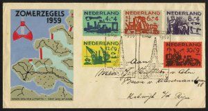 wc068 Netherlands 1959 Land Sea Struggle semipostals set FDC first day cover