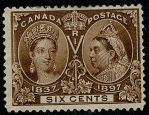 CANADA QV 1897 JUBILEE ISSUE 6c BROWN MINT UNUSED(MH) SG129 Wmk.none P.12 VGC