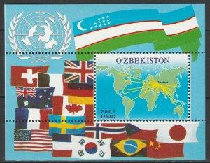 Uzbekistan 2001 Flags, Map MNH Block