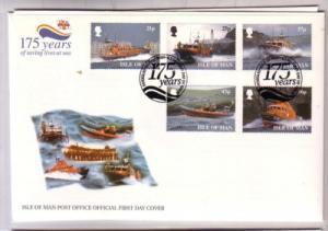 Isle of Man Sc 816-20 1999 Life Boats stamp set FDC