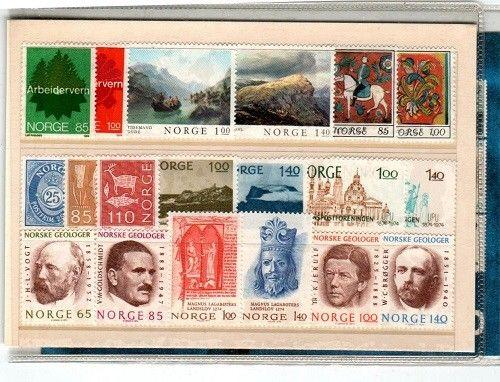 Norway Scott 606,610,612,631-46 Mint NH (1974 Official Year Pack) - CV $22.75