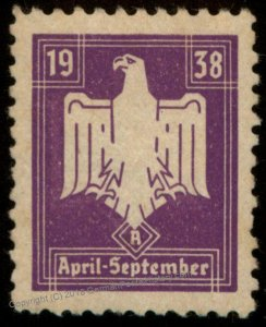 3rd Reich Germany Sports Dues 1938 April-September Revenue MNH 96203