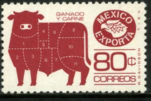 MEXICO EXPORTA 1113a, 80cts. Cattle Meat PAPER 1 PERF 11 MINT, NH. VF.