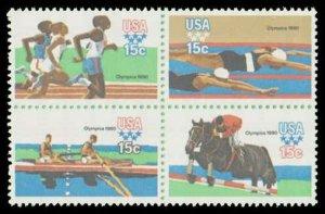 US #1791/1794a Block 60c(4x15c)Summer Olympics, MNH, (PCB-1)