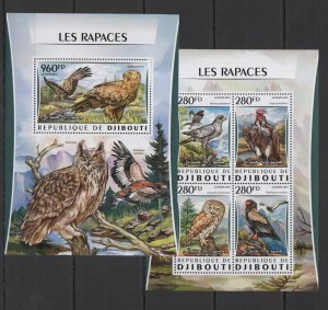 DJ107 2016 DJIBOUTI FAUNA BIRDS OF PREY PREDATORS LES RAPACES KB+BL MNH