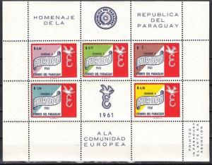 Paraguay, Scott cat. 627 A. Europa sheet of 5 with label.  Cat.21.00