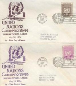 UN #25/26 ILO 1954 - Anderson set of 2