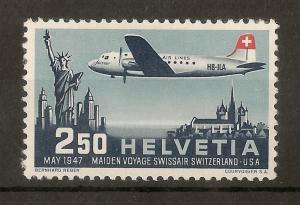 Switzerland 1947 Air SwissAir Flight SG472 Mint Cat£29