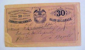 COLOMBIA HG22 WITH LARGE 30 on 1897 COVER SCARCE