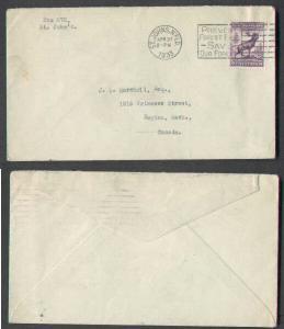 Newfoundland cover #3251-St. John's,N'FLD-Apr 27 1933-slogan- -