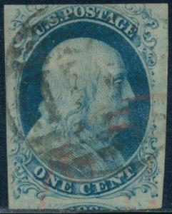 #9 VF+ USED POS.44L1L DOUBLE TRANSFER WITH RED & BLACK CANCELS CV $140.00 BQ8431