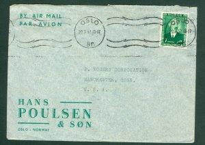 Norway. 1952. Cover Commercial.  Hans Poulsen & Son 1 Kr. King. Conn. USA