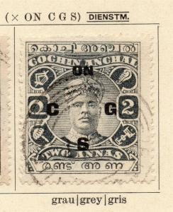 Cochin 1926-27 Early Issue Fine Used 2a. Optd 322460
