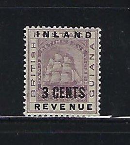 BRITISH GUIANA SCOTT #114 1889 3 CENTS  OVERPRINT- MINT LIGHT HINGED