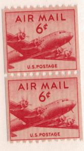 United States (U.S.) Stamp Scott #C-41 Coil Pair, Mint Never Hinged MNH - Fre...