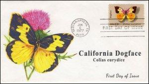 AO-1714,1977, Dogface Butterfly, Add-on Cachet, FDC, SC 1714,