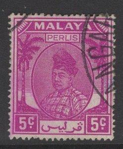 MALAYA PERLIS SG11 1952 5c BRIGHT PURPLE FINE USED