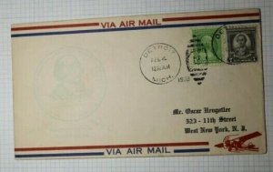 Westminster Stamp Club Air Mail Detriot MI Convention Cachet Cover 1933