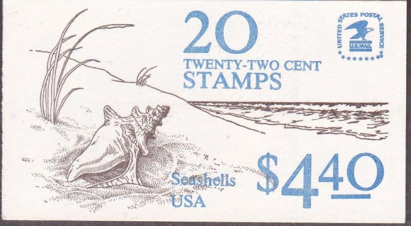 United States 1985 Complete Unexploded Seashells Booklet 20X22cents  5 Designs