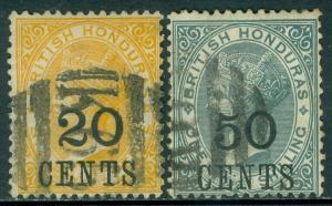 BRITISH HONDURAS : 1888-89. Stanley Gibbons #41-42 Very Fine, Used. Catalog £99.