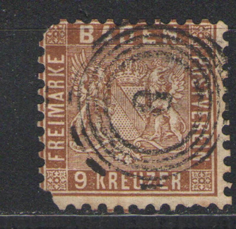 Baden 1862 Sc# 17 Used F/G