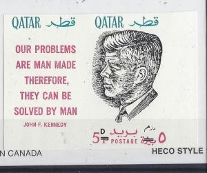 Qatar, MI: 121b, John F. Kennedy Ovpt. Black Imperf Single w/Label, **MNH**