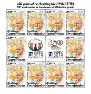 C A R - 2019 - Mahatma Gandhi - Perf 10v Souv Sheet  - M N H